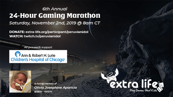 Extra Life 24-hour Marathon - November 2, 2019 at 8am Central Time