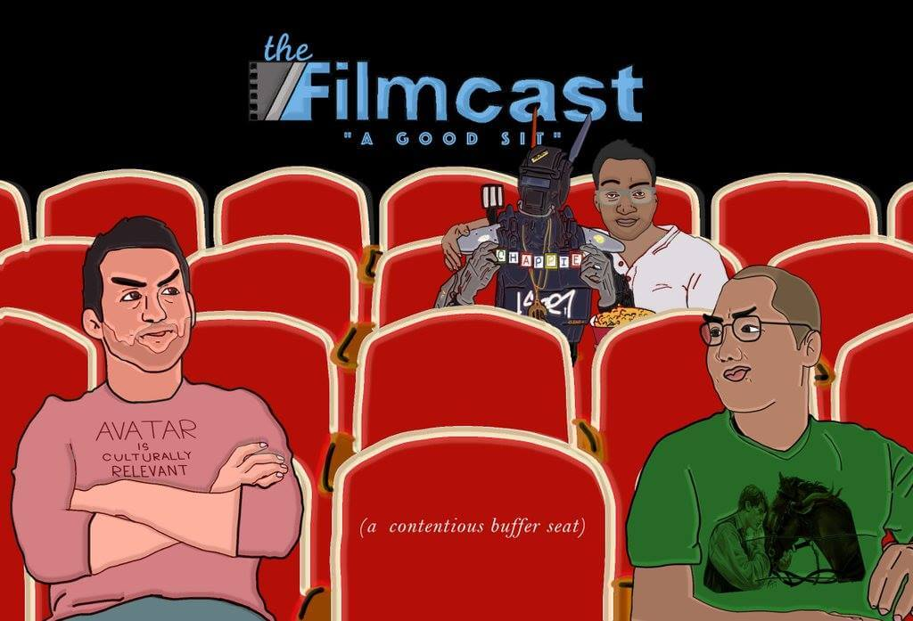 An illustration of Jeff, Devindra and Dave, hosts of the Slashfilmcast.