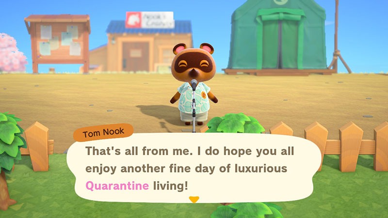 Tom Nook gives the daily announcements