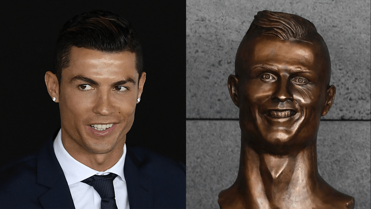 Photo of Ronaldo and a bust of him that looks horribly disfigured.