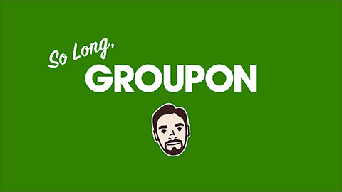 "An illustration of Mike with the phrase, ""So long, Groupon."""